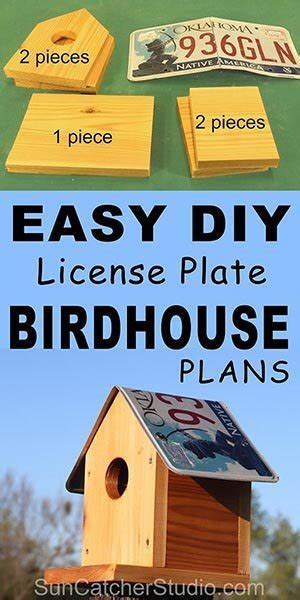 bird house plans recycle   license plate