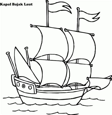 Mewarnai Gambar Kapal Bajak Laut Contoh Anak PAUD