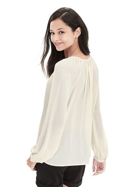 banana republic blouses banana republic embroidered tassel blouse in white lyst