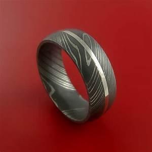 Damascus Steel 14K White Gold Ring Wedding Band Custom Made