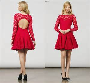 fit and flare dress new 2015 lace sleeve mini prom dresses