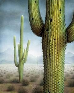 Saguaro Cactus Landscape Painting by James Larkin