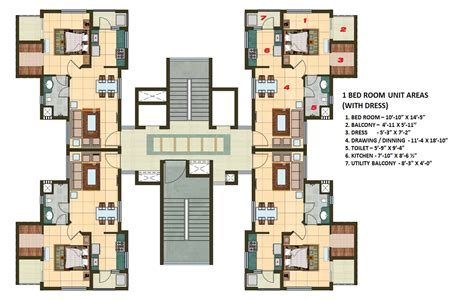 1 Bhk Home Design Plan : 1 Bhk Apartment Cluster Tower Layout