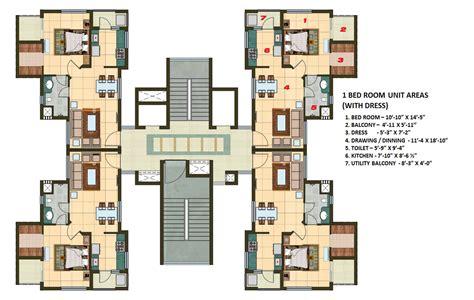 1 Bhk Apartment Cluster Tower Layout  Plan N Design