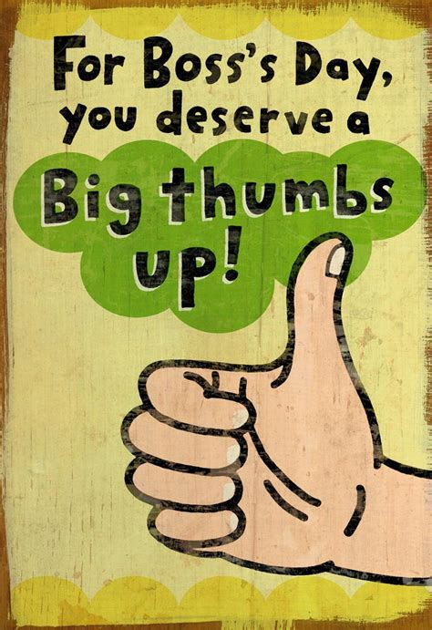 big thumbs  funny bosss day card greeting cards