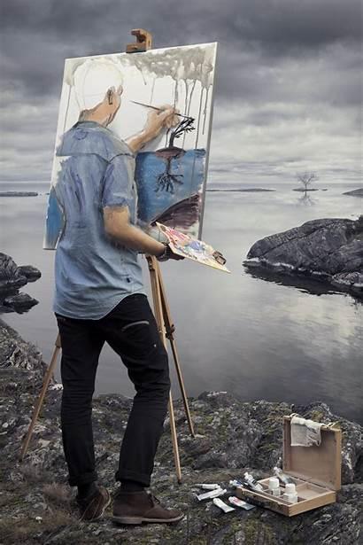 Illusion Portrait Optical Painting Surreal Nature Paint