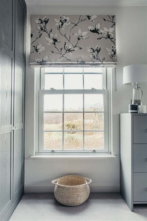 contemporary bedroom  grey floral roman blinds  romo