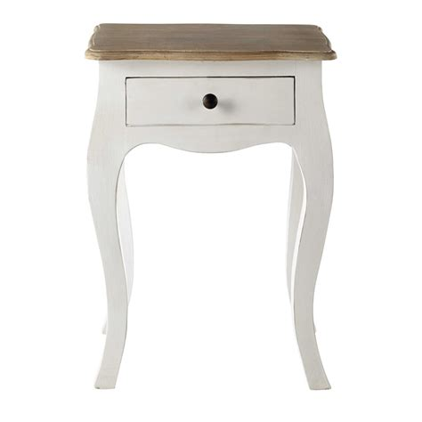 table de chevet avec tiroir en manguier blanc versailles maisons du monde
