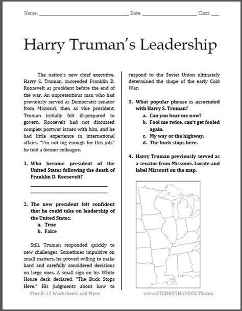 harry truman s leadership free printable worksheet for