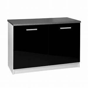 Buffet Bas Noir : meuble de cuisine noir pas cher ~ Teatrodelosmanantiales.com Idées de Décoration