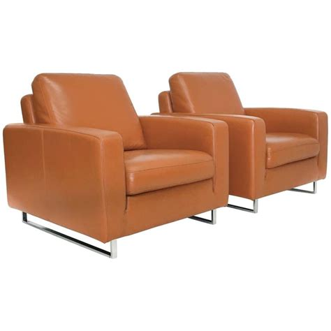 mid century modern leather and chrome club chairs for sale