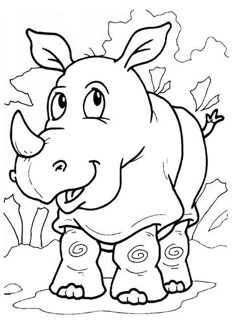 jeux de la jungle cuisine coloriage rhinoceros sur hugolescargot com