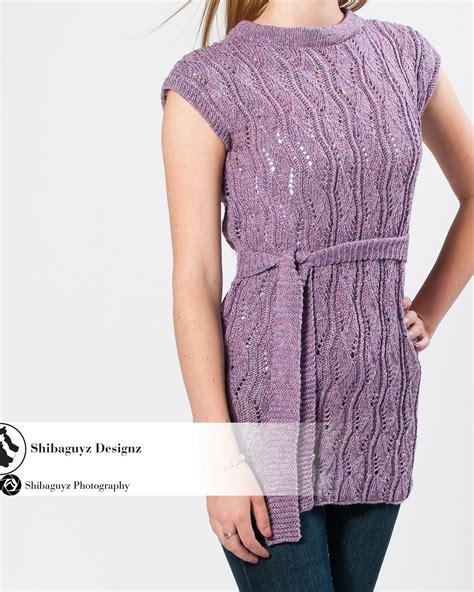 womens belted tunic digital knitting pattern