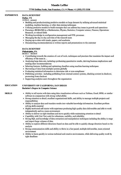 Scientist Resume by Data Scientist Resume Sles Velvet