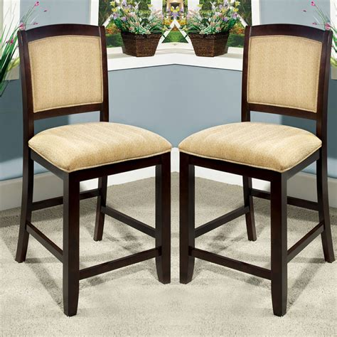 ellendale solid wood espresso counter height chairs padded