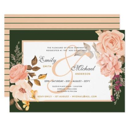 peach green ampersand watercolor roses invites elegant