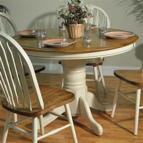two tone kitchen table barnsdale pedestal two tone dining table white