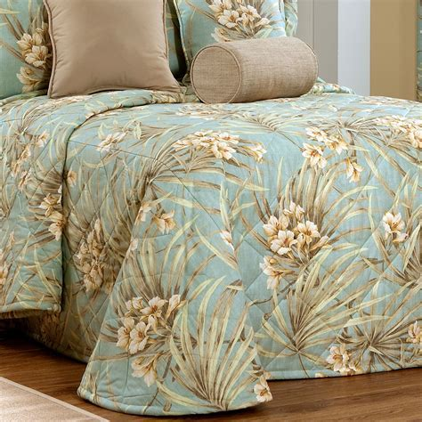Martinique Pale Turquoise Tropical Quilted Bedspread