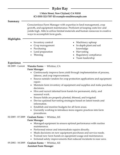 Farmer Resume Description by Farmer Resume Exles Agriculture Environment Resume Sles Livecareer