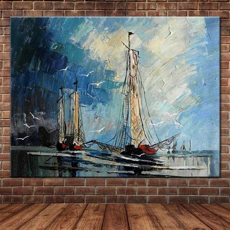 C $9.36 to c $22.63. Large Size Hand Painted Abstract Art Sailboat Seascape Oil Painting On Canvas Wall Art Picture ...