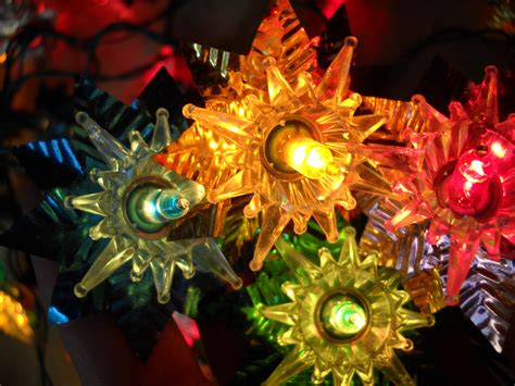 vintage multi colored christmas tree star lights with foil