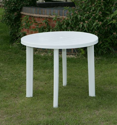 white round outdoor table round garden table only in white resin patio furniture