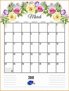 Printable Calenders March 2019 Template Floral Calendar Calendar Wallpaper