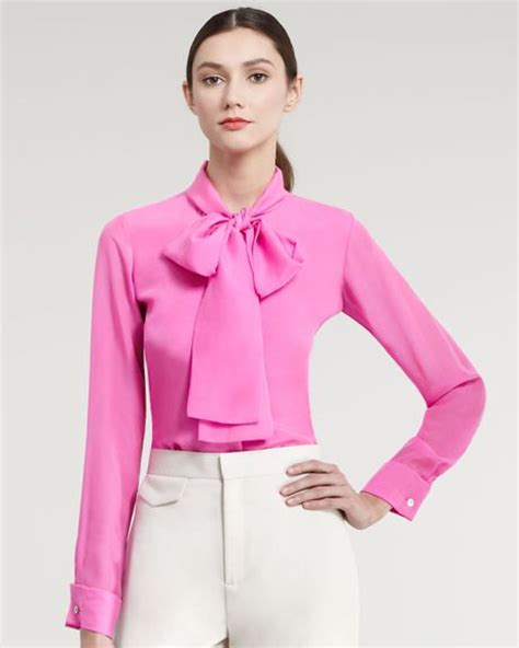 hot pink tie neck blouse raoul silk tie neck blouse in pink for men hot pink lyst