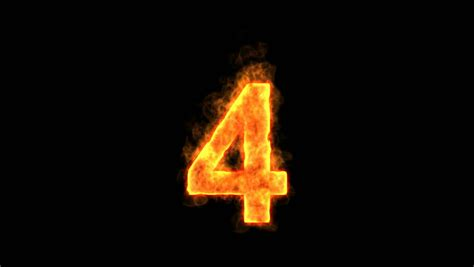 Burning Number Four Isolated On Black (seamless Loop) Hd