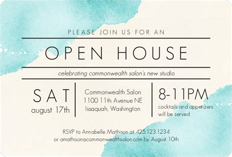 Modern Watercolor Corporate Open House Invitation