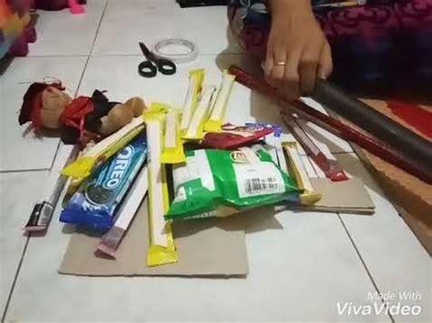 membuat buket snack  kertas karton