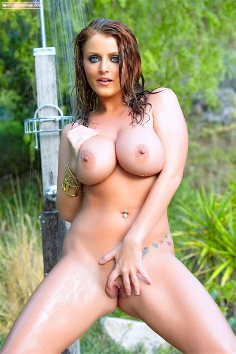 Sophie Dee Washes Her Big Fake Titties Under The Outdoor