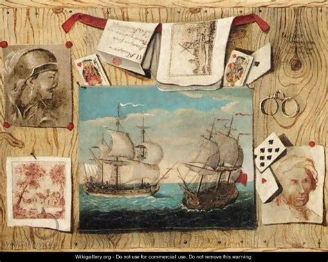 trompe l oeil still with various prints cards and drawings against a pine