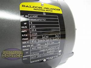 5 Hp Single Phase Baldor Electric Compressor Motor 184t