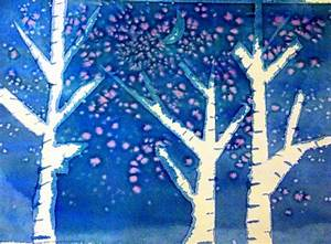 Kids Art: Watercolor Winter Trees - Happiness is Homemade