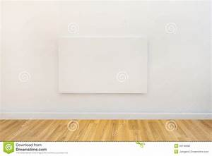 Blank Canvas On The Wall Of A Studio Or Gallery Stock ...