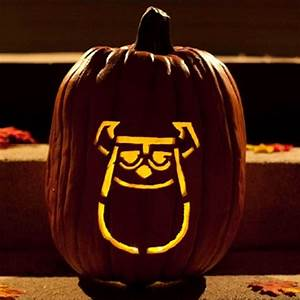 cool disney inspired pumpkin carving ideas With sully pumpkin template