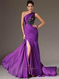 Purple One Shoulder Lace Bodice Chiffon Prom Dress With ...