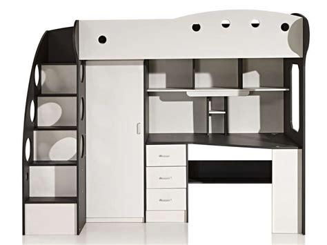 chambre adulte fly lit mezzanine 90x190 cm coloris blanc gris vente