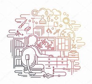 직장-라인 디자인 일러스트 디자이너 — 스톡 벡터 © Decorwithme #109368308