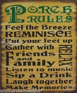 Porch Rules Rustic Primitive Country Sign Home