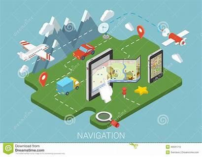 Infographic Navigation Gps Flat Mobile Concept Map