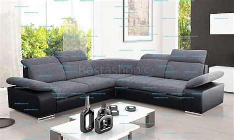 canapé d angle tissus canapé d 39 angle symétrique en tissu gris clair et simili