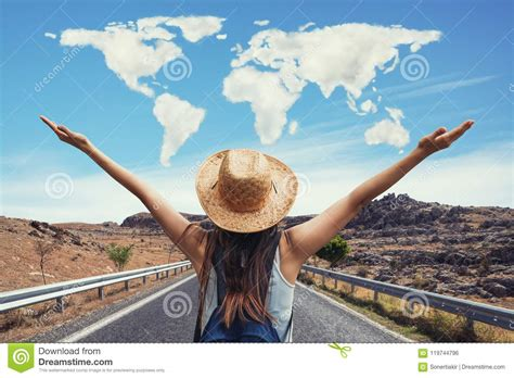 Happy Travel Woman On Vacation Concept With World Shaped