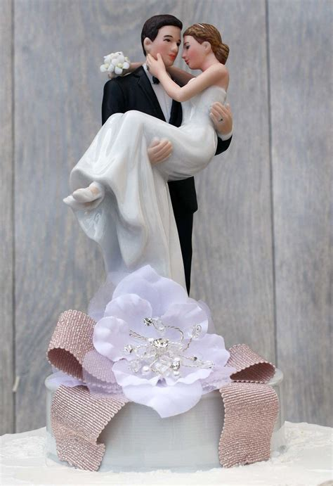 ribbon accent groom holding the wedding cake topper wedding collectibles