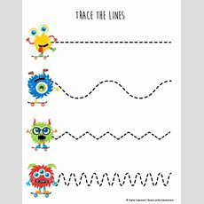 Fine Motor Monster Tracing Lines  Preschool Prewriting Tpt