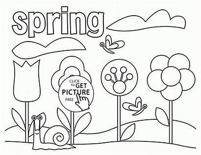 Coloring Spring Seasons Pages Printable Tree Printables