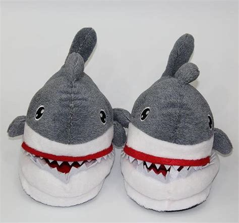 shark plush slippers  grown ups iwisb