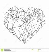 Crystal Heart Graphic Coloring Pages Crystals Illustration Line Rock Vector Template Shape Preview Sketch sketch template