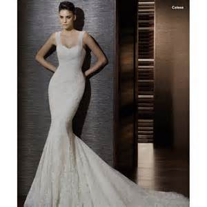 white lace wedding dress mermaid lace chapel white wedding dress